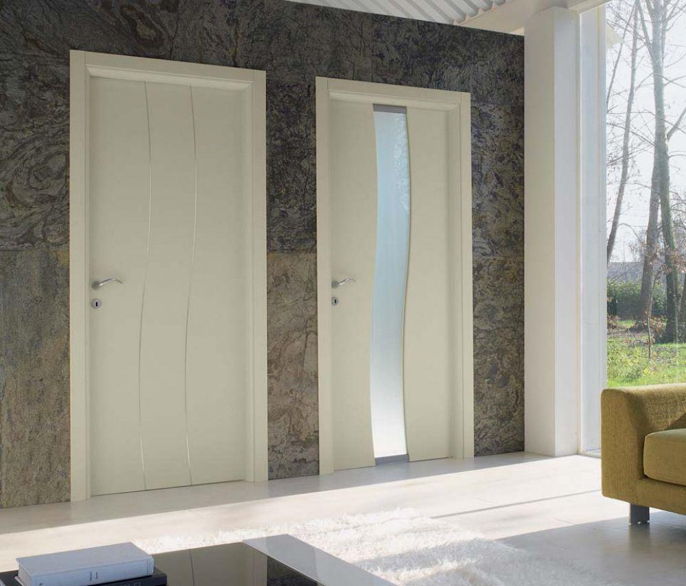 Porte a battente in legno laccato perla colorado e river - Porte in legno e vetro per interni ...
