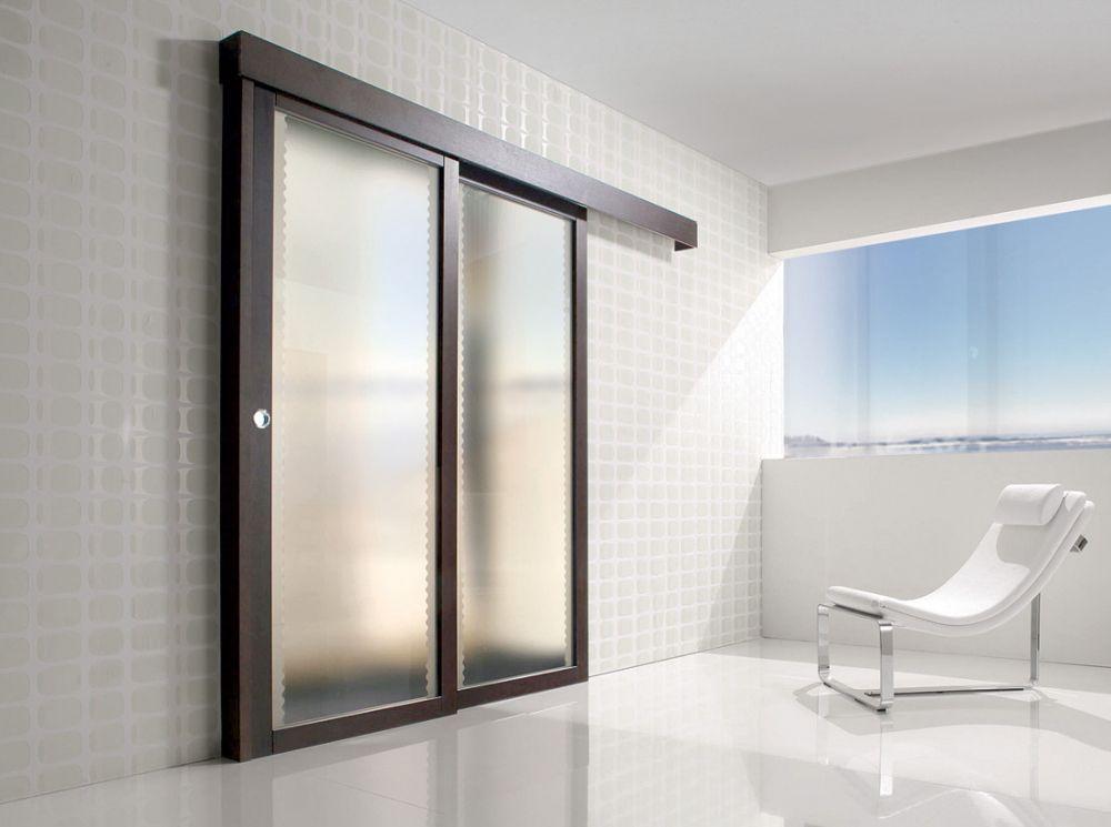 Porta per interni in legno e vetro satinato spazio - Porte interne in vetro scorrevoli ...
