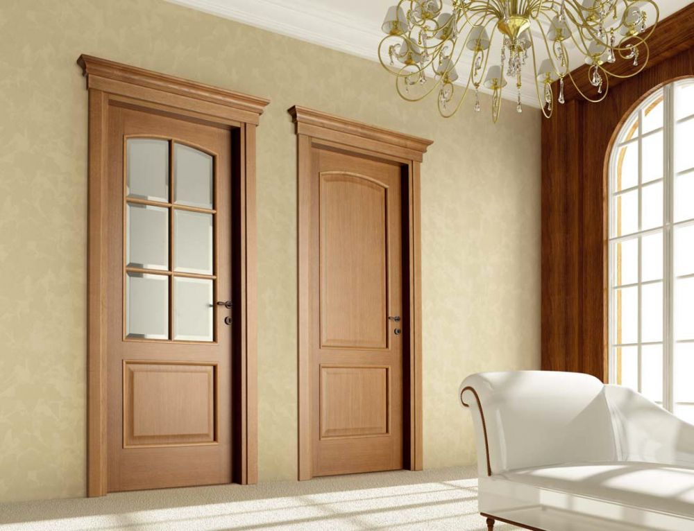 Porte battenti in legno di rovere con vetri satinati for Interni di ville classiche