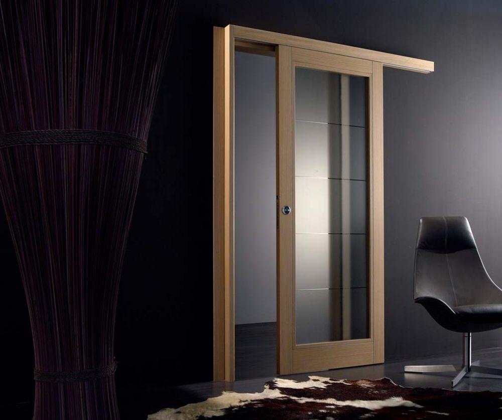 Porta scorrevole in legno di rovere e vetro satinato orione - Porta scorrevole vetro ...