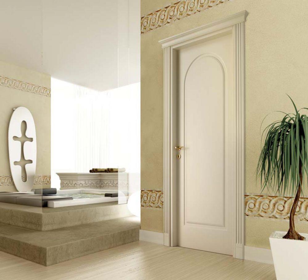 D1C - Porta classica in legno laccato crema