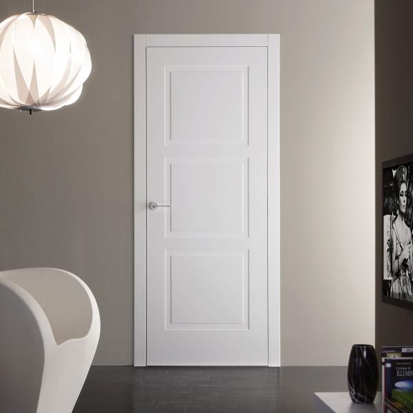 Porta battente in legno laccato bianco Strip 3R